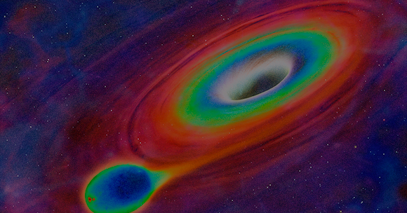 A black hole sucking the gas from a nearby star | Simulation: Science Photo Library